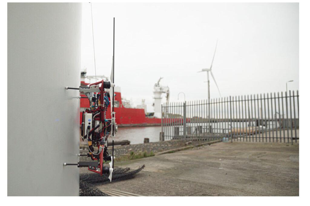 Autonomous drone establishes connection with wind turbine