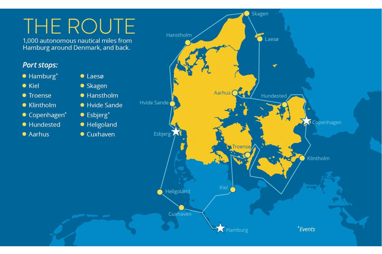 Sea Machines will circumnavigate Denmark on a multi-week 1,000 nautical mile remotely commanded commercial voyage.
